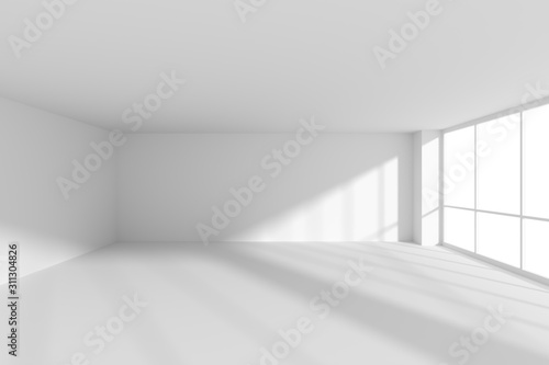 Fototapeta Empty white business office room with sunlight from large windows. obraz