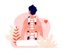 Chiropractor. Spine Disease Diagnosis Problems And Treatment Pain. Chiropractors And Back Of Patient. Natural Osteopathy Vector Concept. Disease And Pain In Spine, Medicine Human Body Illustration