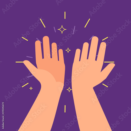 High five hands. Two hands giving a high five, great work achievement. Team result, friendly partners and informal greeting vector concept. Illustration high five gesture success, team friendship Wall mural