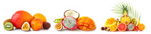 Assortment Of Tasty Exotic Fruits On White Background
