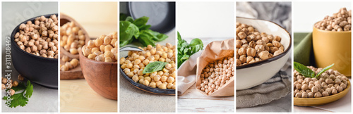 Fotomural  Collage of photos with raw chickpea