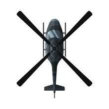 Flying Black Combat Helicopter, View From Above, Military Air Transport Vector Illustration