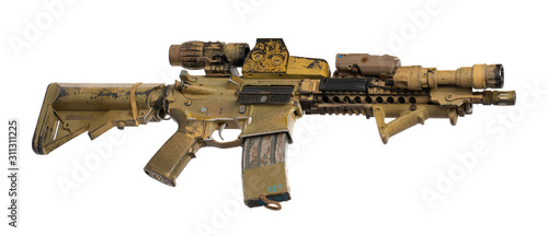 Photo Military toy airsoft rifle isolated on white background