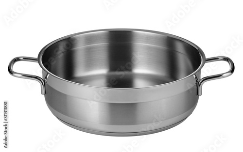 Foto Stainless steel pot isolated on white background