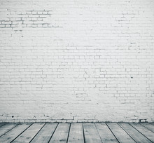 Blank Brick Wall And Wooden Fl...
