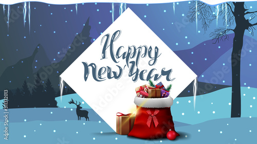 Fototapeta Happy New Year, blue postcard with white large diamond, Santa Claus bag with presents and winter landscape on background with mountains obraz na płótnie