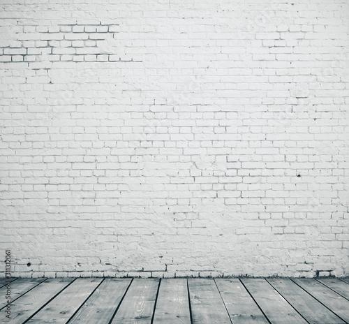 Obraz Blank brick wall and wooden floor - fototapety do salonu