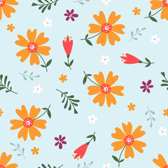 Cute Seamless Floral Pattern isolated on light blue background.