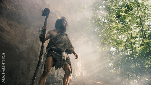 Primeval Caveman Wearing Animal Skin Holds Stone Hammer Stands Near Cave and Looks Around Prehistoric Landscape, Ready to Hunt Animal Prey. Neanderthal Going Hunting into Jungle. Low Angle Shot - 311314216