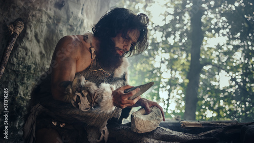 Obraz Primeval Caveman Wearing Animal Skin Holds Sharp Stone and Makes First Primitive Tool for Hunting Animal Prey, or to Handle Hides. Neanderthal Using Handax. Dawn of Human Civilization - fototapety do salonu