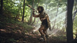 canvas print picture - Primeval Caveman Wearing Animal Skin Holds Stone Tipped Spear Looks Around, Explores Prehistoric Forest in a Hunt for Animal Prey. Neanderthal Going Hunting in the Jungle