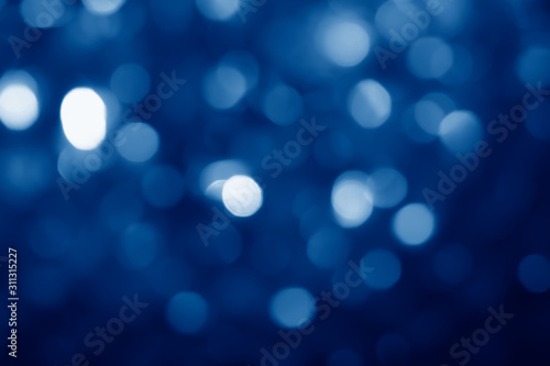 Fototapety, obrazy: abstract blurred circular bokeh lights background toned in trendy Classic Blue color of the Year 2020