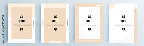 Fototapeta Quote frames blank templates set. Text in brackets, citation empty speech bubbles, quote bubbles. Textbox isolated on color background. Vector illustration. obraz