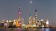 Skyline view from Bund waterfront on Pudong New Area in sunset evening, Lujiazui is the business quarter of Shanghai.