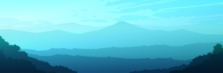 Natural forest trees mountains horizon hills and the route Sunrise and sunset Landscape wallpaper Illustration vector style Colorful view background