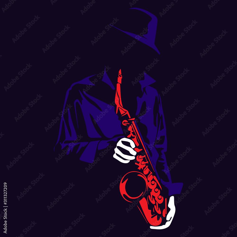 Fototapeta Jazz saxophone player illustration in the shadow cartoon vector silhouette