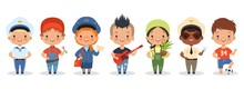 Kids Professions. Cartoon Happy Children Different Professions Vector Characters. Profession Job Children, Occupation Different Kids Illustration