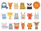 Fototapeta Fototapety na ścianę do pokoju dziecięcego - Cute baby animals. Children funny wild alphabet animals hippo fox bear vector hand drawn collection. Illustration cute fox and giraffe, character cat and hippopotamus