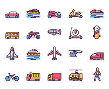 Transport Types Linear Color V...