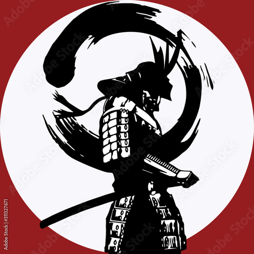 Samurai standing on sunrise silhouette cartoon vector illustration