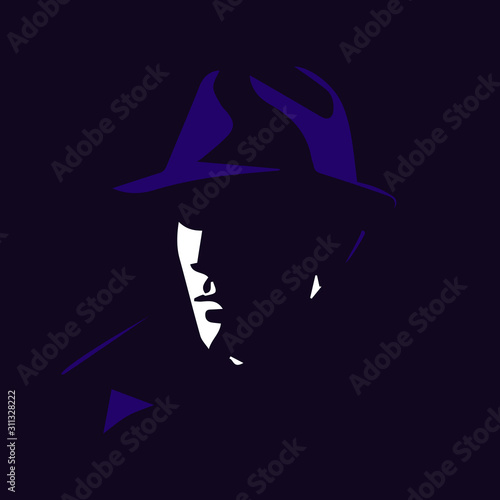 Fotografia Detective in the shadow cartoon illustration