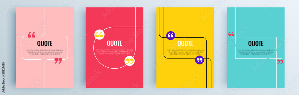 Obraz Quote frames blank templates set. Text in brackets, citation empty speech bubbles, quote bubbles. Textbox isolated on color background. Vector illustration. fototapeta, plakat