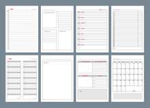 Organizer Pages. Office Agenda Weekly Template Layout Design Goals In Business Diary Vector. Office Page Agenda, Organizer And Schedule Week Or Day Illustration