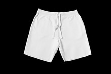 White Shorts On A Black Background Cut Out. Mock-up.