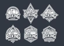 Boxing Retro Badge Logo Emblem...