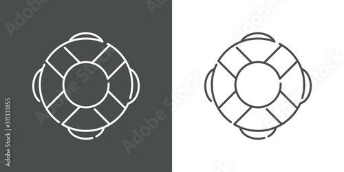 Photo Icono plano lineal salvavidas en fondo gris y fondo blanco