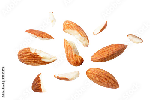 almonds baked pieces snack  and cracks Spread out  on white isolated Wallpaper Mural