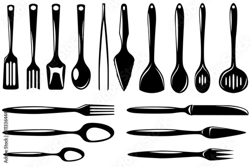 Set of isolated kitchenware icons skimmer, ladle, small ladle, draining spoon, slice and other Wallpaper Mural