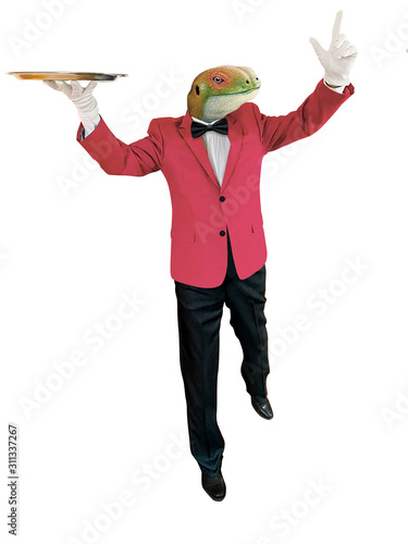 Cuadros en Lienzo lézard habillé en homme, veste rouge , serveur, drôle, chef, cook restaurent, al