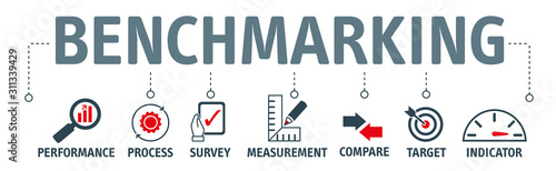 Photo Benchmarking vector illustration banner with icons
