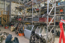 Used Spare Parts, Disassembly. Old Car Parts Suitable For Future Use. Different Old Spare Parts From Cars. Sale Of Old Spare Parts From The Car