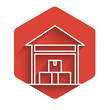 White line Warehouse icon isolated with long shadow. Red hexagon button. Vector Illustration