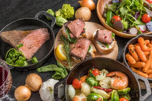 Stampa su Tela ローストビーフと小皿料理Roast beef and small dish