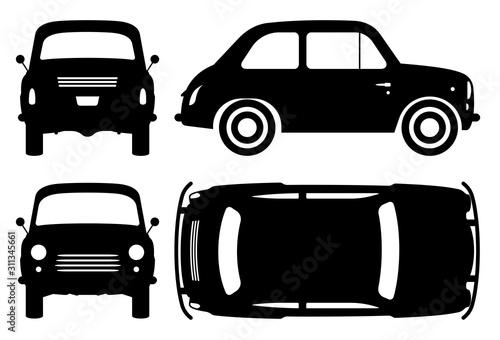 Rocznik samochodowa sylwetka na białym tle. Ikony pojazdu ustawiają widok z boku, z przodu, z tyłu i od góry
