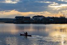 Single Kayak Ride In The Evening