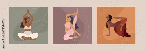 Fototapeta Feminine concept. Cute girl doing yoga poses. Lifestyle by young woman. Fashion illustration by femininity, beauty and mental health. Vector cartoon obraz