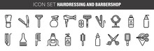 Barber Shop Icon Set, Outline Thin Line Isolated Vector Sign Symbol, Hairdressing Tools