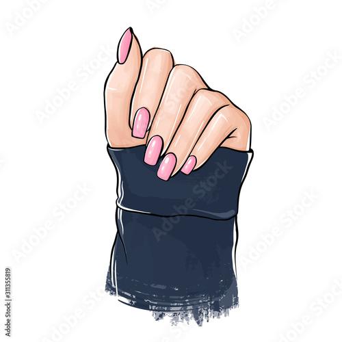 Vector Beautiful woman hand with nude nail polish. Fototapet