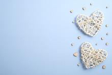 Handmade Hearts On Blue Backgr...