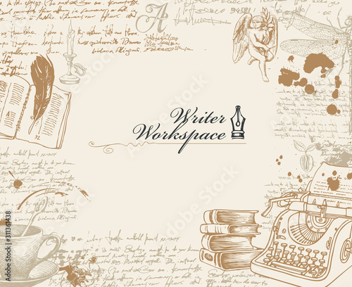 Fotomural Vector banner on a writers theme with sketches and place for text in retro style