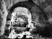 General View Of The Khotyn Fortress On The Right Bank Of The Dniester River In Western Ukraine. Khotyn Fortress In Black And White. Khotyn Fortress With A Special Artistic Effect.
