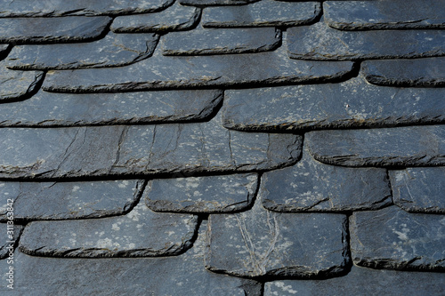 Photo Rustic black slate roof texture.