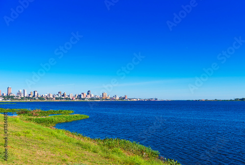 View of the city from the side of the Paraguay river, Asuncion, Paraguay Canvas Print