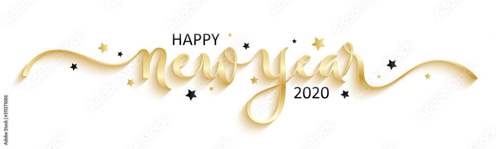 Fototapeta HAPPY NEW YEAR 2020 black brush calligraphy banner with stars