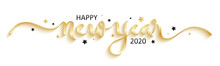 HAPPY NEW YEAR 2020 Black Brush Calligraphy Banner With Stars