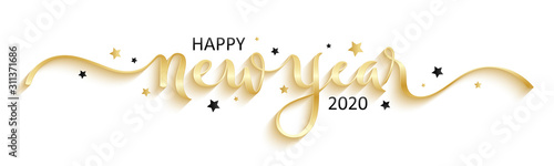 Obraz HAPPY NEW YEAR 2020 black brush calligraphy banner with stars - fototapety do salonu